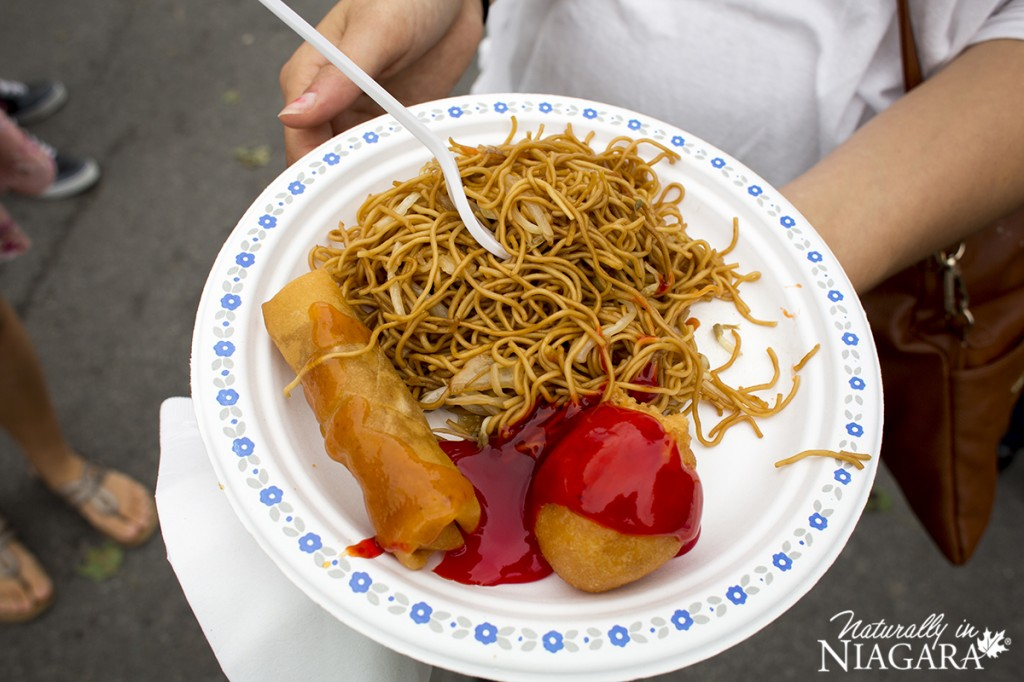 Noodles, Spring Roll and Chicken Ball from the Mandarin