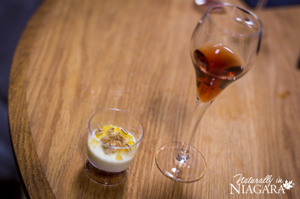 Maple Oat Crusted Icewine Creme Brulee with Cabernet Franc Icewine