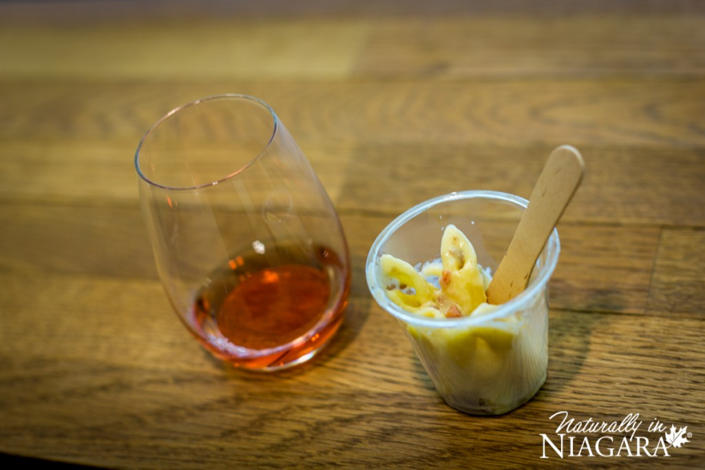 Blue Cheese Bacon Mac and Cheese with Cabernet Franc Icewine